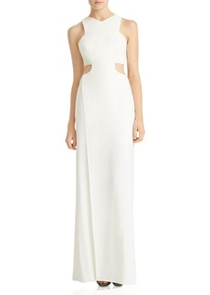 HALSTON HERITAGE Crepe Gown with Cutouts