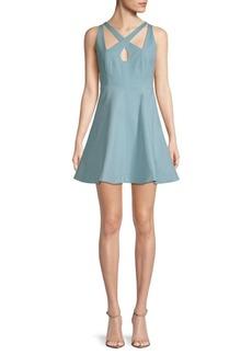 Halston Heritage Crisscross A-Line Dress