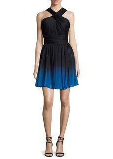 Halston Heritage Crisscross-Neck Ombre Party Dress