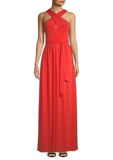 Halston Heritage Cross-Neck Fit-&-Flare Gown