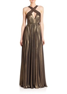 Halston Heritage Cross Neck Flowy Gown