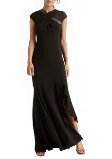 Halston Heritage Crossover Embellished Asymmetrical Gown