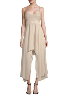 Halston Heritage Cut-Out Sweetheart Midi Dress