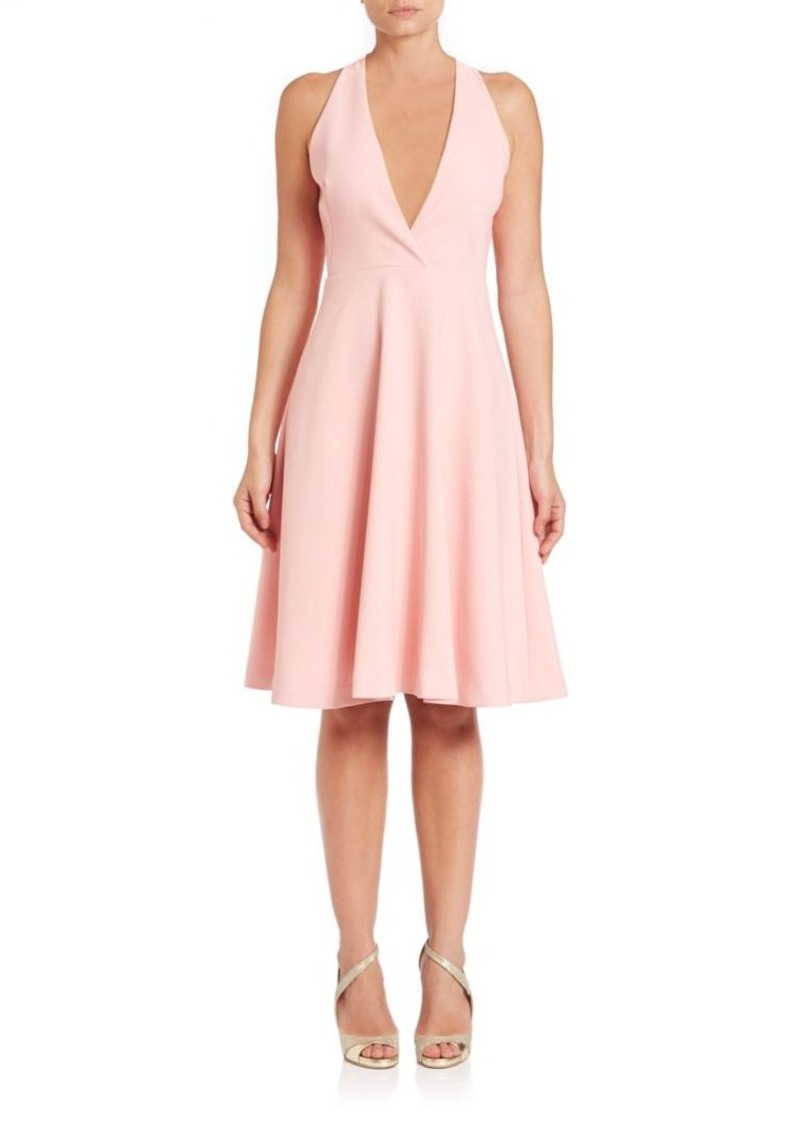 Halston Heritage Cutout-Back Deep-V Halter Dress