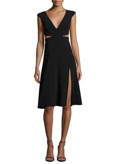Halston Heritage Cutout Cap-Sleeve V-Neck Crepe Dress