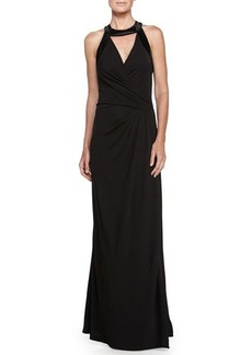 Halston Heritage Cutout Detail Evening Gown