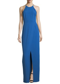 Halston Heritage Cutout Evening Gown w/ Smocking Detail