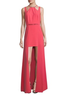 Halston Heritage Cutout High-Low Dress