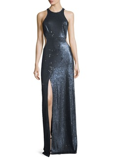 Halston Heritage Cutout Sequin Column Gown