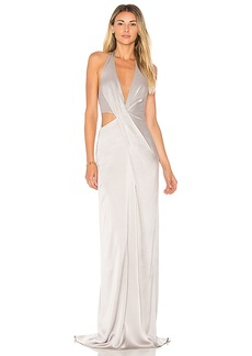 Halston Heritage Deep V Neck Draped Gown in Gray. - size 0 (also in 6,8)