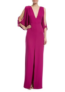 Halston Heritage Deep V-Neck Open-Back Gown