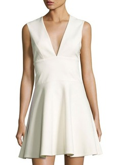 Halston Heritage Deep V-Neck Sleeveless Flare Dress