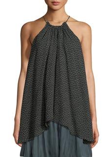 Halston Heritage Dot-Print Ruched-Neck Flowy Silk Camisole