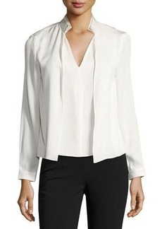 Halston Heritage Double-Collar V-Neck Blouse