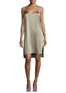Halston Heritage Double-Strap Satin Slip Dress