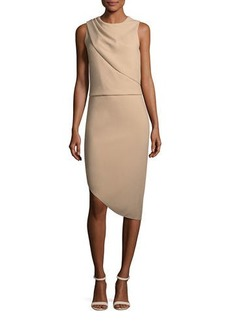 Halston Heritage Drape-Front Asymmetric-Hem Sheath Dress