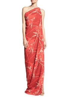 Halston Heritage Draped One-Shoulder Gown