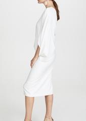 HALSTON Draped One Shoulder Midi Dress