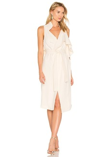 Halston Heritage Draped Wrap Dress in Beige. - size M (also in S,XS)