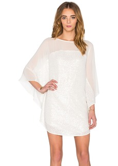 Halston Heritage Elbow Sleeve Boatneck Mini Dress