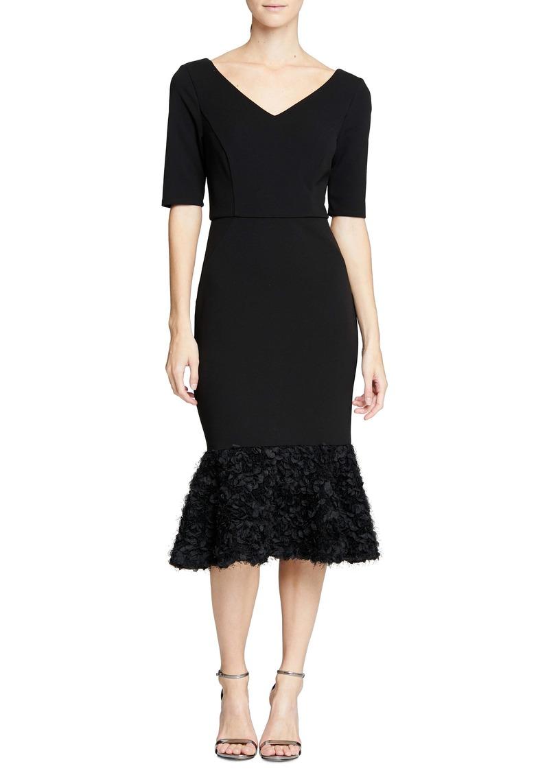 Halston Heritage Embellished Flare Hem Midi Dress