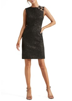 Halston Heritage Embellished Jacquard Cocktail Dress
