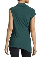 Halston Heritage Embellished-Shoulder Drape-Front Top