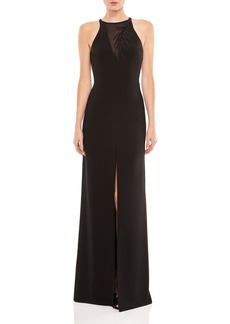 HALSTON HERITAGE Embroidered Crepe Gown