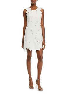 Halston Heritage Embroidered Scalloped Mini Cocktail Dress