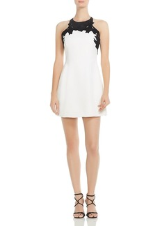 HALSTON HERITAGE Embroidered-Top Mini Dress