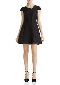 HALSTON HERITAGE Faille Asymmetric Neck Dress