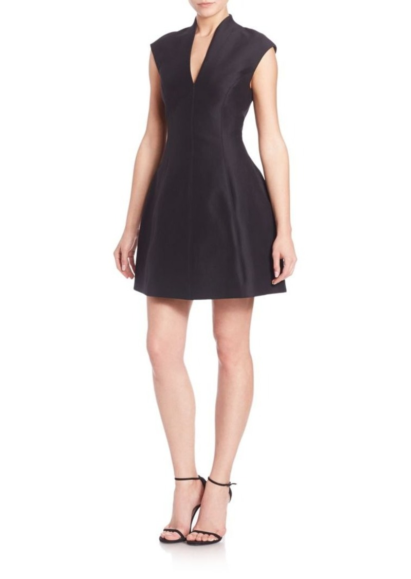 Halston Heritage Faille Cap-Sleeve Dress