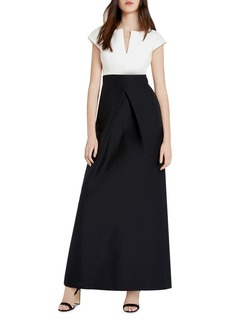 HALSTON HERITAGE Faille Color Block Gown