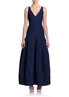 Halston Heritage Faille V-Neck Dropped-Waist Gown