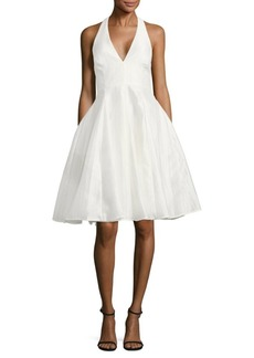 Halston Heritage Fit-&-Flare Halterneck Dress