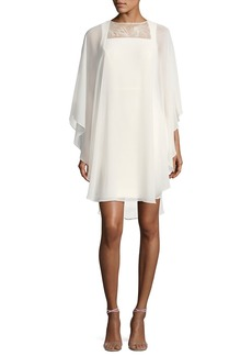 Halston Heritage Fitted Cocktail Dress w/ Embroidered Sheer Overlay