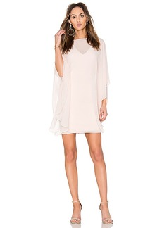 Halston Heritage Fitted Ponte Dress With Sheer Overlay in Pink. - size 0 (also in 2,4)