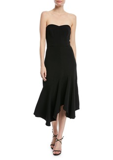 Halston Heritage Fitted Strapless Dress w/ Flounce Skirt