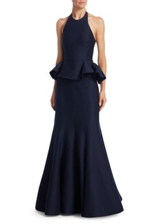 Halston Heritage Flared Ruffled Evening Gown