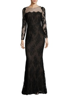 Halston Heritage Floral Embroidered Illusion Gown