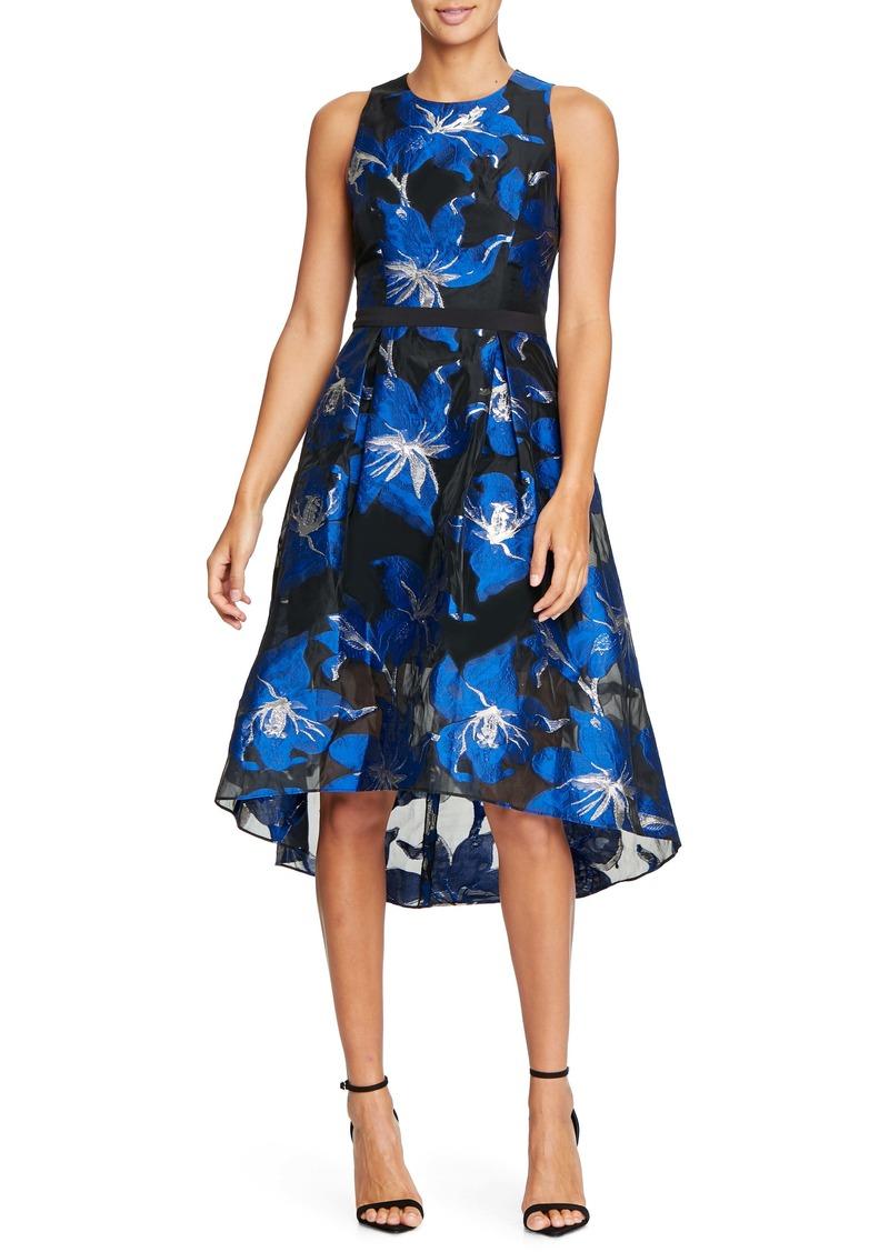 Halston Heritage Floral Fil Coupé Fit & Flare Dress