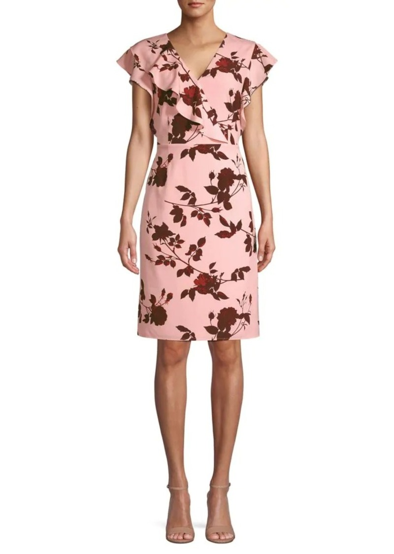Halston Floral-Print Knee-Length Dress