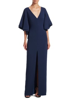 Halston Heritage Flounce Bell-Sleeve Gown