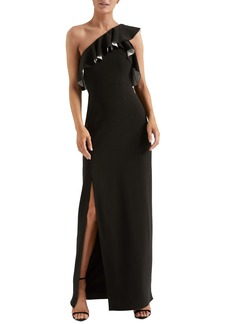 Halston Heritage Flounce Crepe Gown