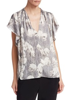 Halston Heritage Flounce-Sleeve Printed Ruched Blouse