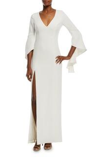 Halston Heritage Flounce-Sleeve V-Neck Gown