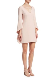 Halston Heritage Flounce-Sleeve V-Neck Shift Dress