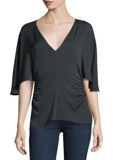 Halston Heritage Flounce-Sleeve V-Neck Silk-Blend Top