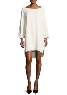 Halston Heritage Flounce-Sleeve Wide Boat-Neck Dress