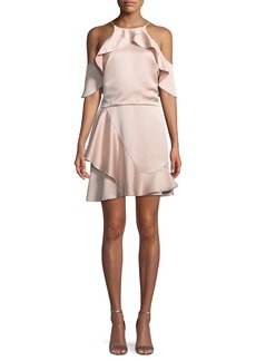 Halston Heritage Flouncy Cold-Shoulder Halter Mini Dress